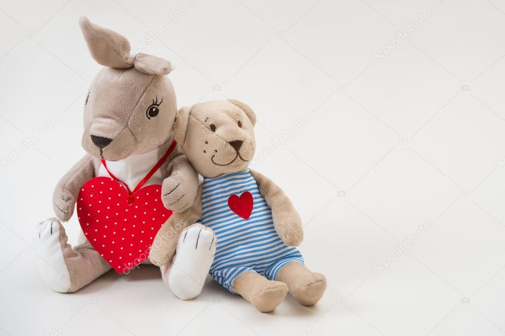 Retro lovely style toy rabbit and bear sit hugging   Stock Photo #14603571