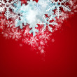 Beautiful snowflake red Christmas background with copyspace — Stock Photo