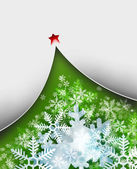 Beautiful snowflake Christmas background with New Year Tree — Stock Photo