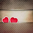 Stock Photo: Valentine background: two hearts over retro background