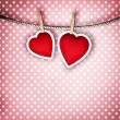 Valentine background: two hearts hanging on clothespin. Couple c — Foto de Stock