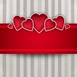 Valentine background: cute hearts and red ribbon over paper text — Stock Photo #17217233