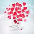 Valentine background: hearts flying from envelope. Valentine mes — Stock Photo