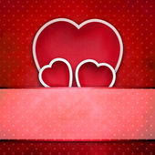 Valentine background: three hearts over retro background — Stock Photo