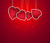 Valentine background: blank hearts hanging on string — Stock Photo