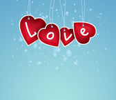 Valentine background: hearts with love sign hanging on string — Stock Photo