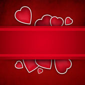 Valentine background: cute hearts and red ribbon over paper text — Stock Photo