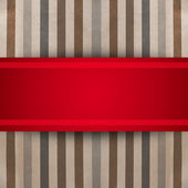 Red ribbon over striped paper texture. gift box — Stock Photo