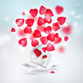 Valentine background: hearts flying from envelope. Valentine mes — Stockfoto