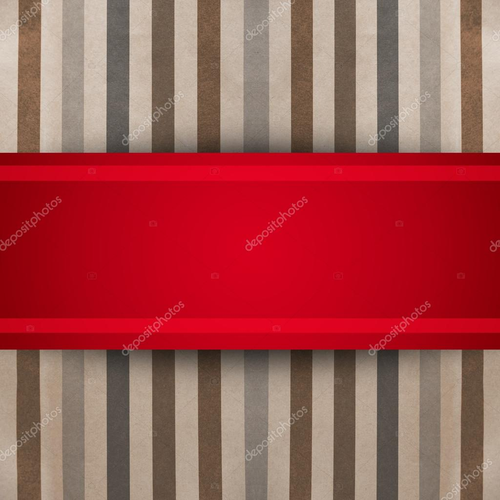 Red ribbon over striped paper texture. gift box — Stock Photo #17217229