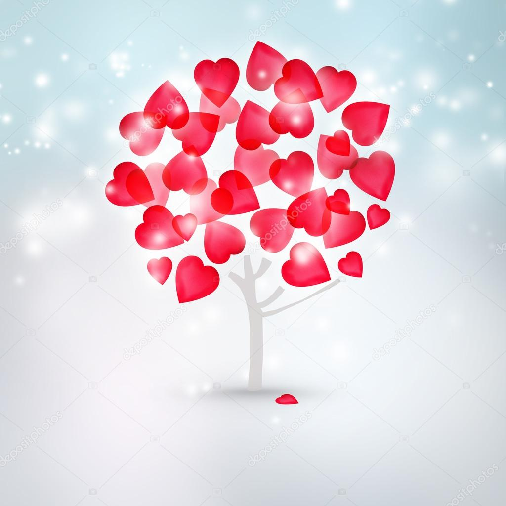Valentine background: tree with hearts instead of leaves standing alone with snow only around — Stock Photo #17217257