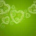 Sparkling heart retro green background — Stock Photo
