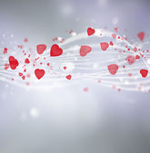 Bright valentine background with hearts and lights — Stock Photo