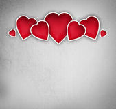 Valentines background: group of hearts over grunge background — Stock Photo