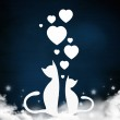 Valentine illustration. Two cats sitting together in love — Stock Photo