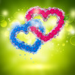 Stock Photo: Valentine background: two hearts made of flowers