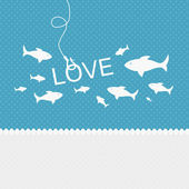 Valentine background: many fishes on the hook of love — Stock Photo