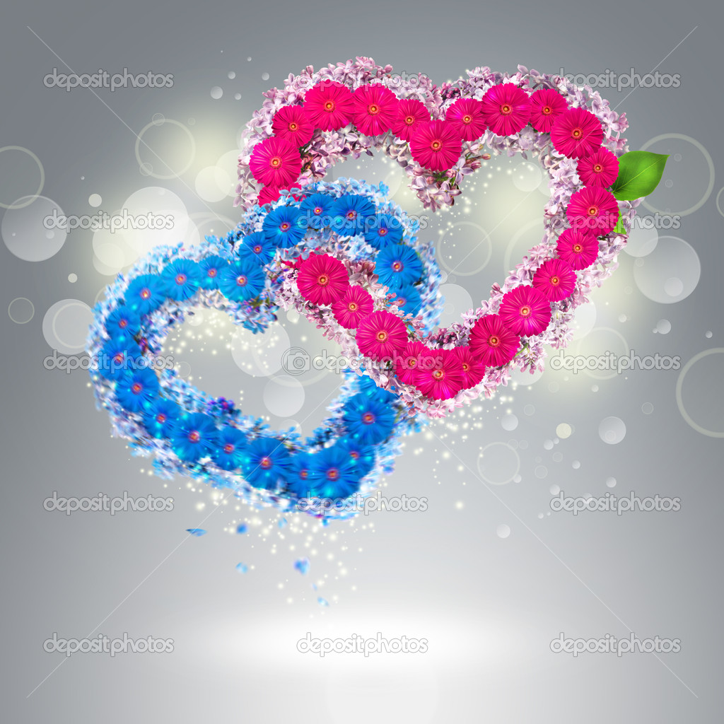 Valentine background: two hearts made of flowers — Stock Photo #18388223