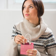 Portrait of a woman preparing surprise to her husband or boyfriend — Stock Photo #18696441