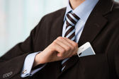 Closeup of torso of confident business man wearing elegant suit — ストック写真