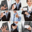 Business collection of images with man and woman showing - Stock Photo