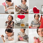 Valentines say or birthday image set with beautiful woman — Stock Photo