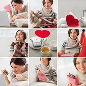 Valentines zeggen of verjaardag afbeelding instellen met mooie vrouw — Stockfoto