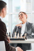 Business playing chess at office. — Stock Photo