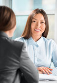 Portrait of two business women meeting at office — Stock Photo