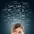 Idea concept. Young business woman with idea signs in front — Stock Photo #21640785