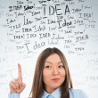 Idea concept. Young business woman with idea signs in front — Stock Photo #21640787