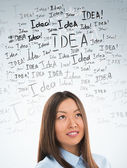 Idea concept. Young business woman with idea signs in front — Stock Photo