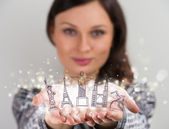 Closeup portrait of woman sharing virtual symbols of famous tour — Stock Photo