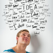 Idea concept. Young man with idea signs overhead - Stock Photo