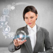 Businesswoman and virtual interface with web and social media icons — Stock Photo #22430473