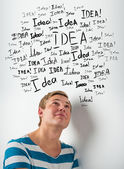 Idea concept. Young man with idea signs overhead — Stock Photo