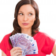 Woman holding and showing a lot of five hundred euro banknotes — Stock Photo #23287874