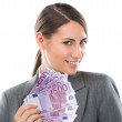 Business Woman holding and showing a lot of euro banknotes — Stock Photo