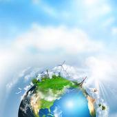 Terre avec des éléments différents sur sa surface. jour heure — Photo