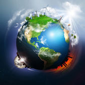 Earth with different elements on its surface — Stock Photo