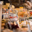 Grocery store. Cheese glass case closeup — Stock Photo