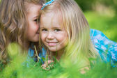 Happy children relaxing on green grass in summer park — Stock Photo