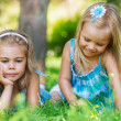Stock Photo: Two little sisters having fun in summer park