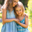 Outdoor portrait of two embracing cute little girls — Stock Photo #29000675