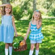 Two little girls carrying basket with organic food — Stock Photo #29986939