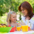 Stock Photo: Mother and daughter picnicking