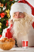 Portrait of happy Santa Claus at home eating cookies and drinkin — Stock Photo