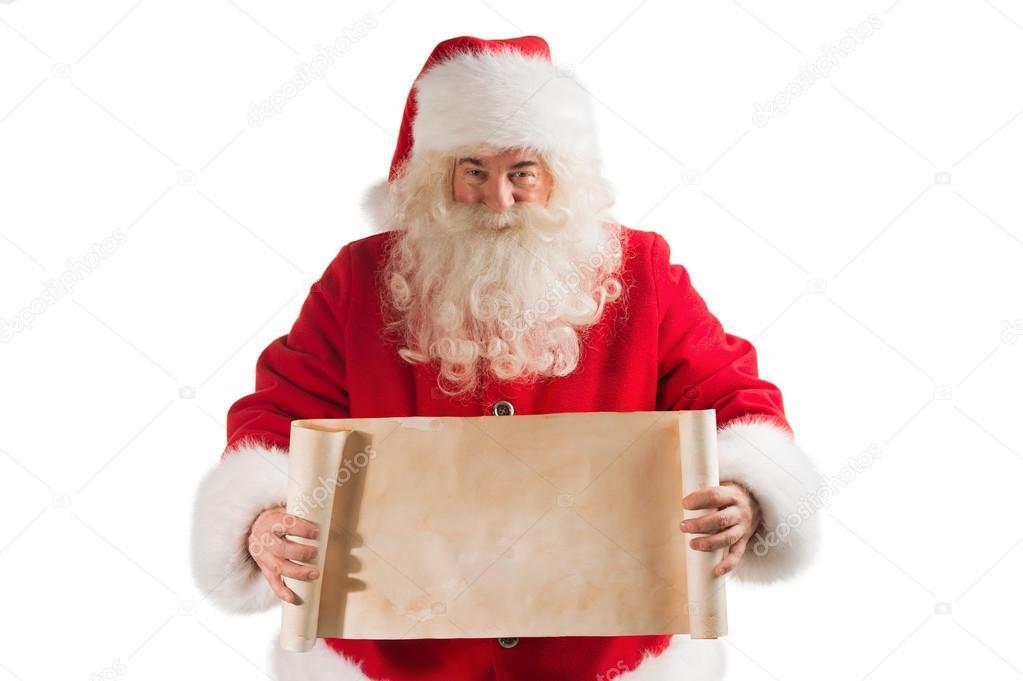 Santa claus holding vintage banner — stock photo hasloo