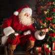 Stock Photo: Santa putting gifts under Christmas tree in dark room