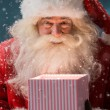 Portrait of happy Santa Claus opening gift box — Stock Photo #32857679